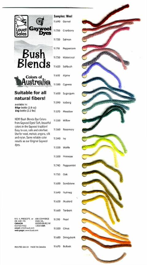 Gaywool BushBlends Color Card - Click Image to Close