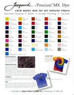 Jacquard Procion MX Dye Color Card